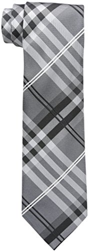 Geoffrey Beene Men's Petros Plaid II Tie, Gray, One Size