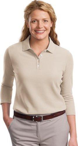 Port Authority Ladies EZCotton Pique 3/4 Sleeve Polo Shirt-M (Oyster)