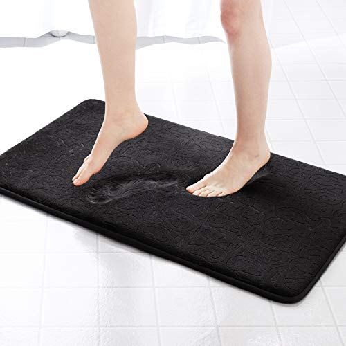 Genteele Memory Foam Bathroom Rugs Non-Slip Absorbent Bath Mat Rug Carpet, Machine Wash and Dry, Embossed Soft Velvet Plush Surface (22″ X 36″, Black)