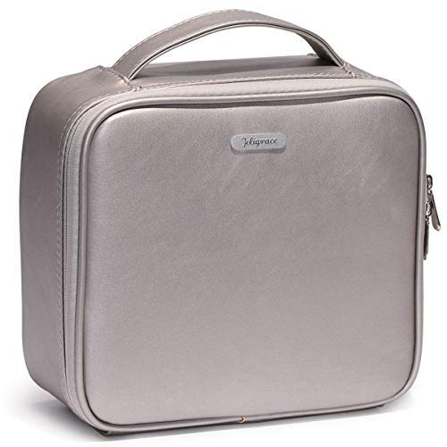 Joligrace Upgraded Makeup Train Case PU Cosmetic Bag Travel Size Organizer with Brush Holder Pockets and Removable Dividers Silver
