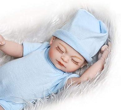 Blue iCradle Reborn Baby Doll 10 Inch 26cm RealistischeWasserdicht Spielzeug EIN Kleines Quilt Madchen Reborn Doll