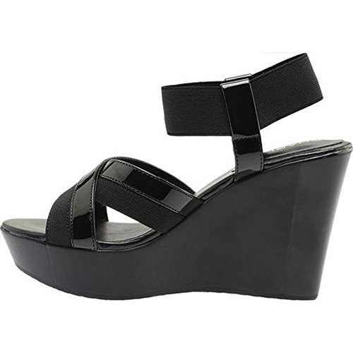 Charles by Charles David Women's FORT Ankle Strap Wedge Sandal BLACK ELASTIC,6.5