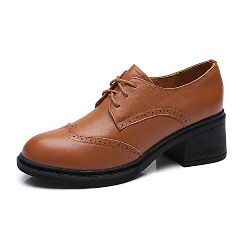 Cuero Retro Zapatos Bronceado Británico Suave De Zapatos Mujer Otoño De Redonda De Zapatos De Cabeza Negro Grueso Estilo Tacón Femenina qUtIYz