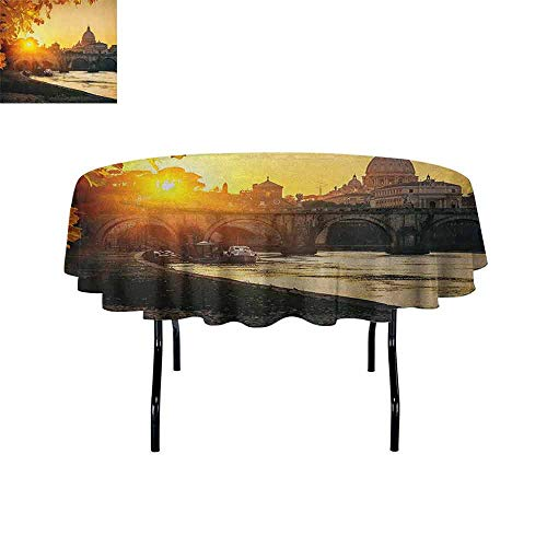 Douglas Hill Fall Easy Care Leakproof and Durable Tablecloth Sunset at Tiber River St Peter Rome City Italy Basilica Touristic Ancient Outdoor Picnic D55 Inch Marigold Yellow Black]()
