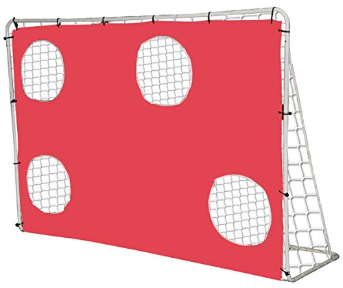 KLB Sport 7' x 5' Steel 3 in 1 Soccer Goal Targets with Rebounder Training Net and Carry Bag (Red)