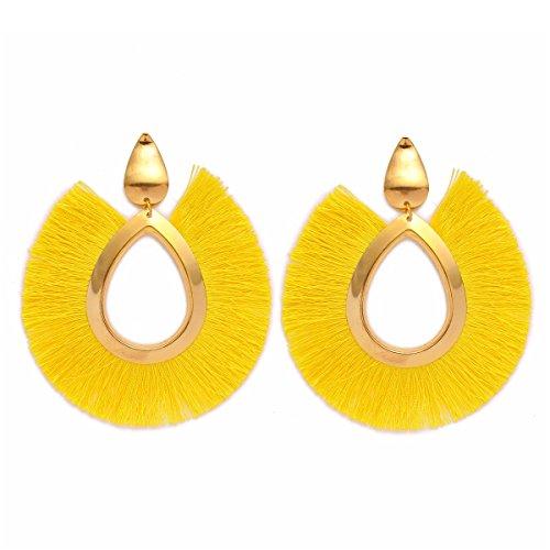 (MOOCHI Yellow Women's Bohemian Tassel Hanging Fringe Fashion Oval Vintage Earrings)