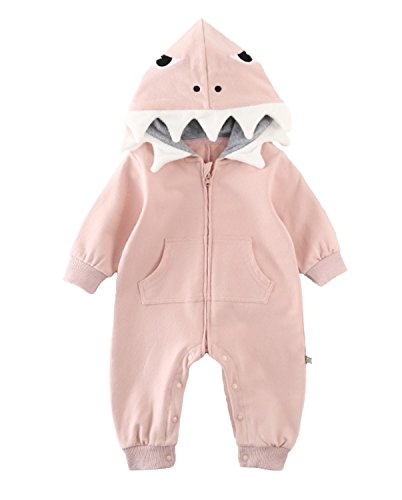 Baby Boys Girls 3D Cartoon Shark Hooded Romper Jumpsuit One-Piece Zipper Climb Clothes Playsuit Size 9-12 Months/Tag 80 (Pink) ()