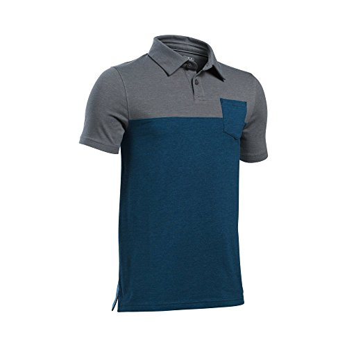 Under Armour Boys' Charged Cotton Blocked Polo, Blackout Navy (997)/Vapor Green, Youth (Under Armour Cotton Polo Shirt)