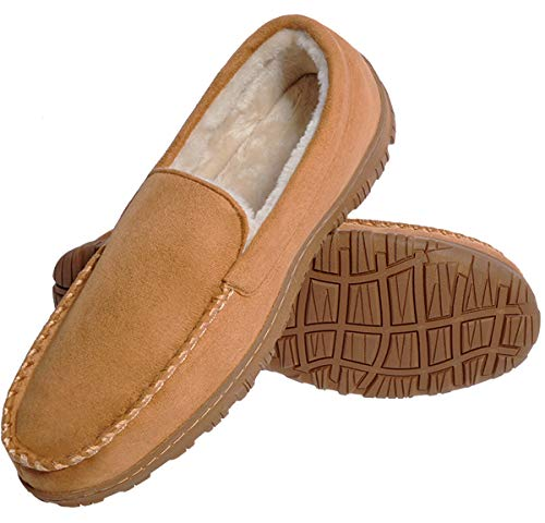festooning Mens House Shoes Flanel Lined Mocassins Slippers with Memory Foam Beige Rubber Sole 13 M - Border Memories