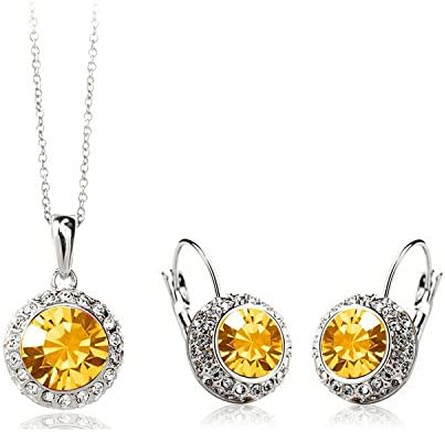 CS86 2014 Crystal Jewelry Necklace Earring Set Made with Austrian Element Crystals for women Chariot Trading COLOR : SILVER ORANGE