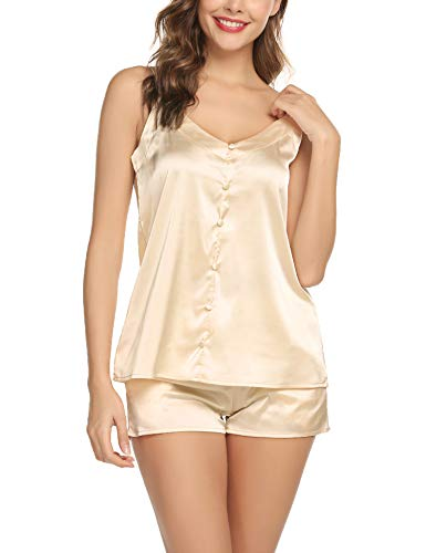 Women's Pajamas Set Silky Tank Top and Shorts Lingerie Set Beige-M