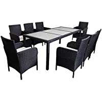 MCombo Patio Rattan Wicker 9-Piece Dining Set with 8 Chairs & 1 Rectangle Table