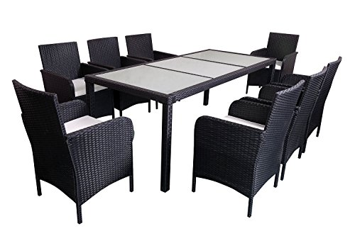 MCombo 9 PC Outdoor Patio Rattan Wicker Furniture Dining Tab