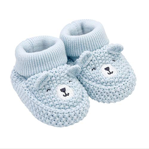 Knit Newborn Booties - Carter's Girls Soft Sole Bear Knit Bootie-Newborn Slipper, Blue, Regular US Infant