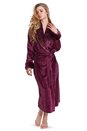 Cozy   Curious Women s Comfy Faux Fur Robe Soft Warm Fleece Long Grey e0affa14b