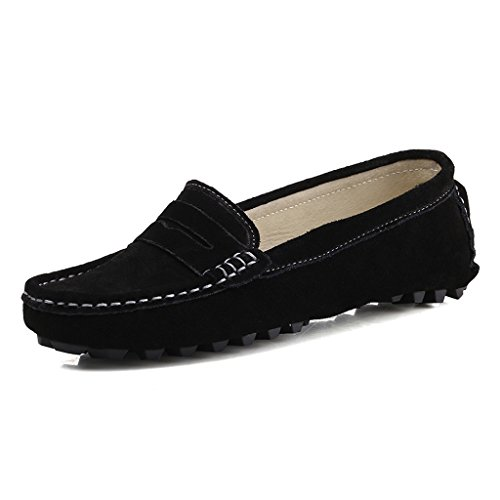 Womens Black Suede Loafers Shoes - SUNROLAN 808-2hei9 Rebacca Women's Suede Leather Driving Moccasins Slip-On Penny Loafers Boat Shoes Flats Black 9 B(M) US