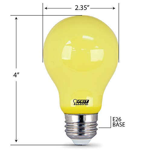 """FEIT Electric A19/BUG/LED Non-Dimmable Led Bug Light, 5 W, 120 V, 400 Lumens, 2.35 In Dia, 4"""" H x D, Yellow"""