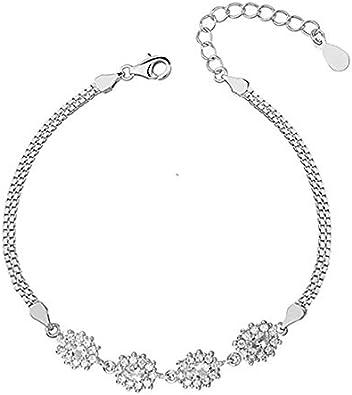 Beforya Paris Moonlight Zirconia - Pulsera ajustable con cristales Swarovski ~Elements® de plata de ley 925 para mujer, con caja de regalo