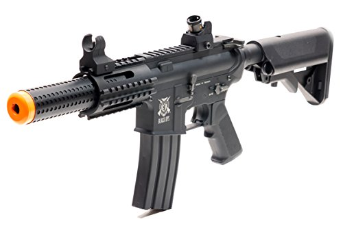 Airsoft Gun Black Ops SR4 CQB Rifle Electric M4 SBR Full Metal Fully Automatic AEG Rifle Battery Included (Sks Parts Muzzle)