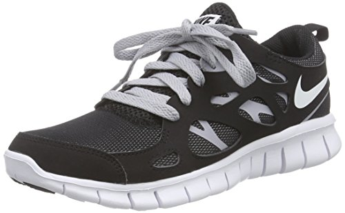 NIKE Free Run 2 (GS) Running Trainers 443742 Sneakers Shoes (US 4.5Y 36,5, Black White Wolf Grey 091)