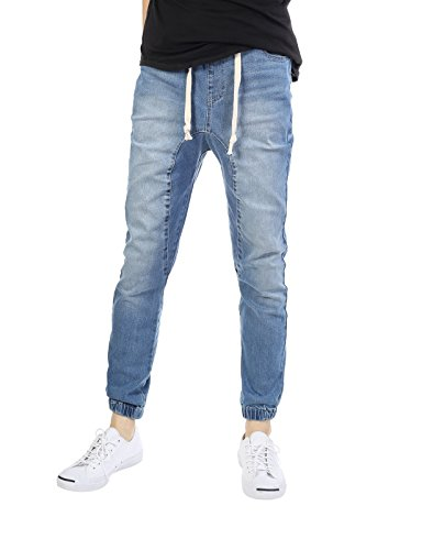 JD Apparel Mens Slim Fit Washed Denim Joggers Large Light In