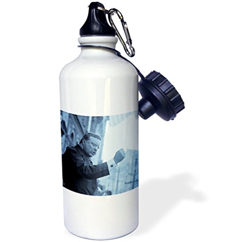 "3dRose wb_77444_1 ""Theodore Roosevelt The Bull Moose Speaks Cyan"" Sports Water Bottle, 21 oz, White"