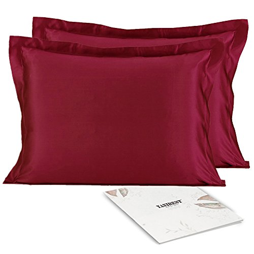 YANIBEST Silky Satin Pillowcase Set of 2 for Hair and Skin with Envelope Closure, Standard Queen Satin Pillow Cases Cover (King, Wine ()