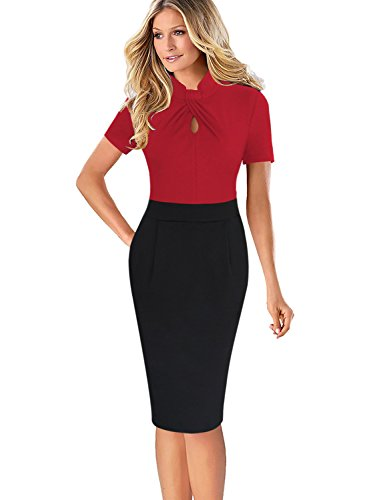 VFSHOW Womens Twist Neck Keyhole Pockets Work Cocktail Party Sheath Dress 037 RED (Retro Keyhole Dress)