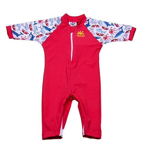 Nozone Fiji Sun Protective Baby Swimsuit Fun Prints in Red/Salty, 12-18 Months