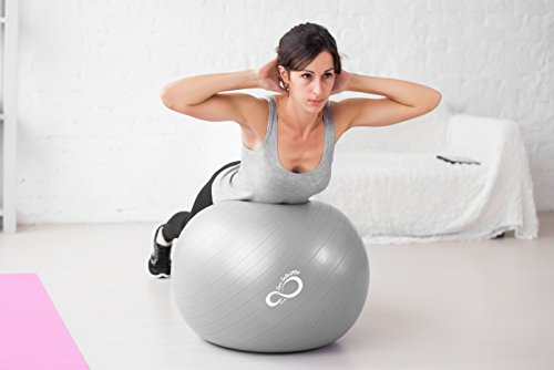 Exercise Ball -Professional Grade Exercise Equipment Anti Burst Tested with Hand Pump- Supports 2200lbs- Includes Workout Guide Access- 55cm/65cm/75cm/85cm Balance Balls (Light Silver, 65 cm) by Live Infinitely (Image #4)
