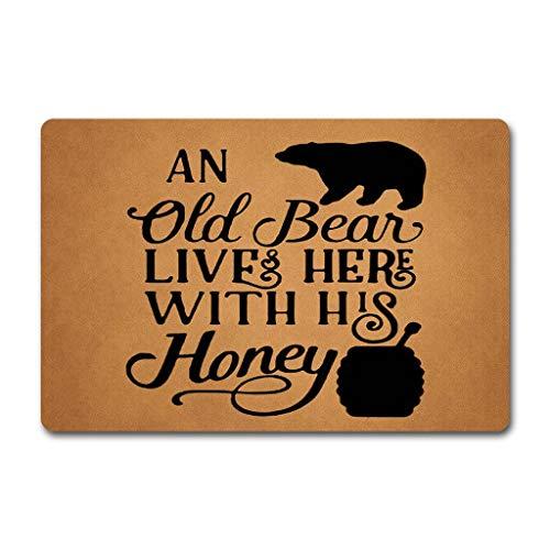 ZQH Entrance Door Mat an Old Bear Lives Here with His Honey Doormat Monogram Bear Honey Doormat (23.6 X 15.7 in) Non-Woven Fabric Top with a Anti-Slip Rubber Back Door ()