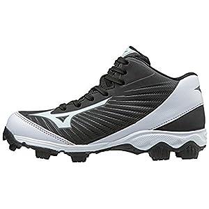 Mizuno (MIZD9) Boys' 9-Spike Advanced Franchise 9 Molded Cleat-Mid Baseball Shoe, Black/White, 4 Youth US Big Kid