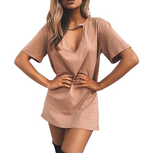 Antopmen Women Sexy V Neck Short Sleeve Choker Mini Dress