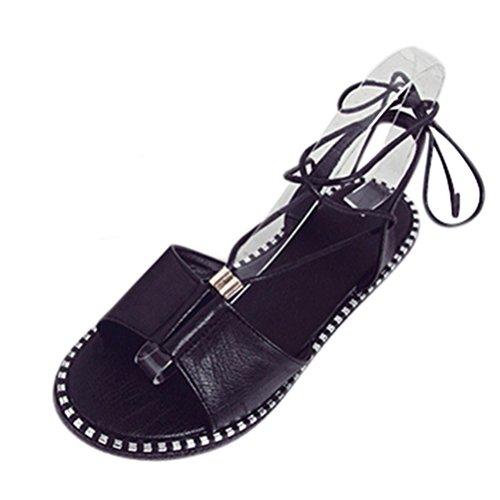 BZLine® Damen Sandalen High Quality Spezial verstellbare elastische Schuhe Schwarz