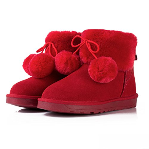 Winter Red Snow Shoes Lady's Boots Ankle Warm 0wqxn1dH