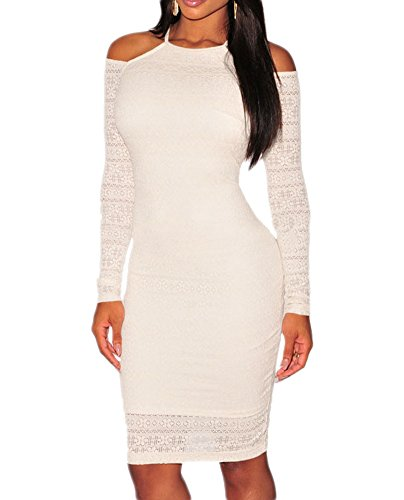 made2envy Lace Cut Out Shoulder Bodycon Dress (M, White) - Out Gold Cut White