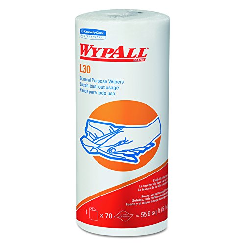 Wypall L30 DRC Wipers (05843), Strong and Soft Wipes, White, 24 Rolls / Case, 70 Sheets / Small Roll, 1,680 Wipes / Case