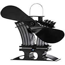 Ecofan 806CAXBX BelAir Heat Powered Gas or Pellet Stove Fan, Made in Canada, Black