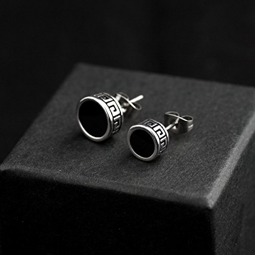 Classic retro round steel earrings single men and women only trend personality carved diamond earrings ear jewelry