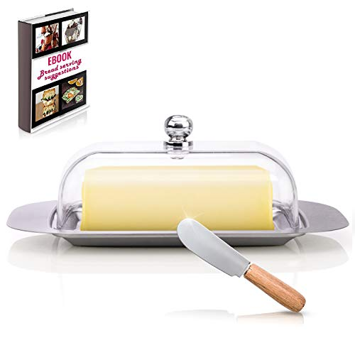 Covered Butter Dish For Kitchen - Stainless Steel Metal Saucer Clear plastic Lid + FREE Bread Serving Suggestions eBook 7.3