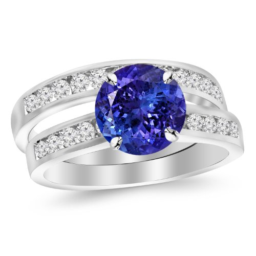 Classic 3 Stone Channel Ring - 14K White Gold Classic Channel Set Wedding Set Bridal Band & Diamond Engagement Ring with a 3 Carat Tanzanite AAA Heirloom Center Stone