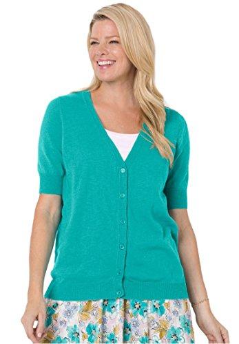 Women's Plus Size Cool Cotton Cardigan Sweater Aquamarine,2X