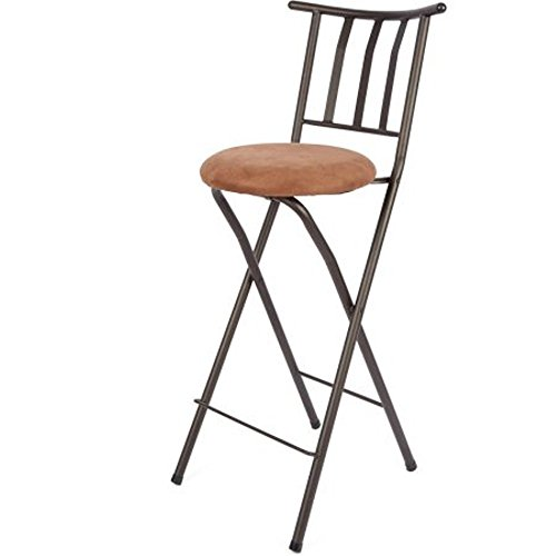 Home Furniture Sitting Bar Stool Bronze 30 Empress Metal Ladder Back Black Chair Microfiber cushion Folding feature Padded seat cushion Assembled Dimensions (L x W x H):42.50 x 4.00 x 20.00 Inches - 30 Back Bar