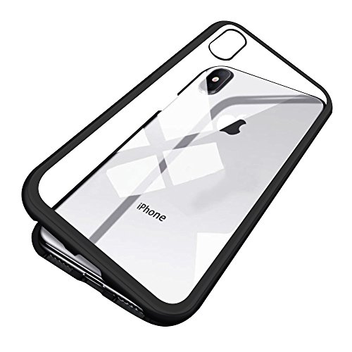 iPhone X Case, Diaxbest Ultra Slim Magnetic Adsorption Metal Case, Hard Clear Tempered Glass Back Cover Support Wireless Charging Compatible iPhone X/10 (Clear Black)