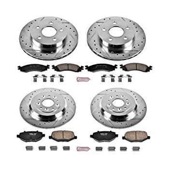 Power Stop K5524 Front and Rear Z23 Evolution Brake Kit with Drilled//Slotted Rotors and Ceramic Brake Pads
