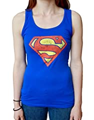Soft ringer style tank top with the distressed logo of your favorite DC superhero, Superman
