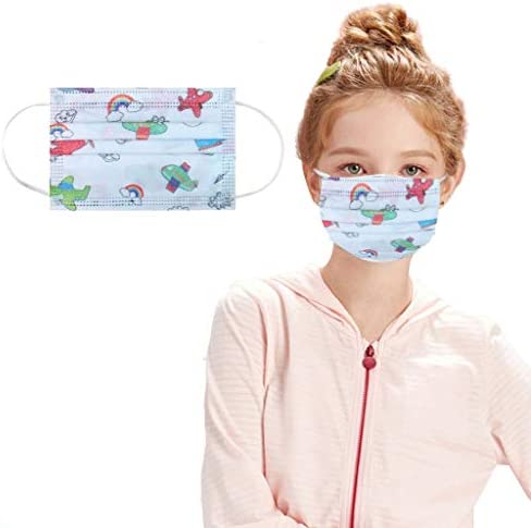 50Pcs Disposable Face BandanasCute Cartoon Pattern 3 Ply Non-Woven Elastic String Earloop Breathable and Anti-Haze Dust for Kids Protection (50Pc Blue)