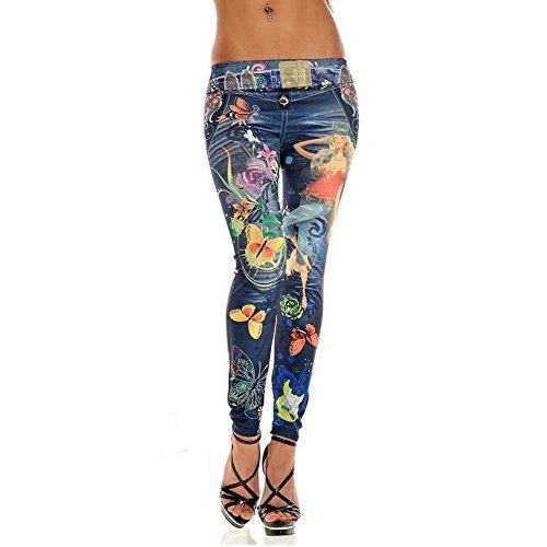Chic Jeans Slacks bleu Jean taille Collants Bleu Stretch haute Slim droit fille Confortable 6wX0Rq