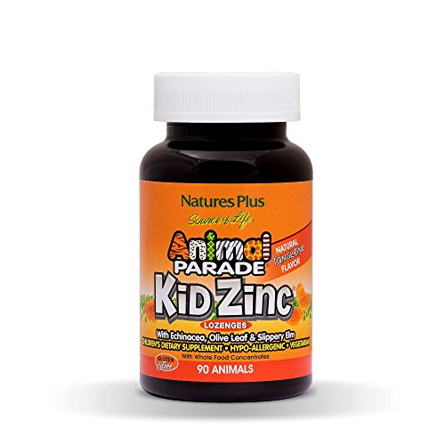 Natures Plus Animal Parade Source of Life KidZinc Lozenges - Tangerine Flavored - 90 Animal Shaped Tablets - Chelated Zinc Immune Support Supplement - Vegetarian, Gluten Free - 90 Servings