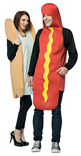 [UHC Couples Hot Dog And Bun Outfit Funny Theme Party Halloween Costume, OS] (Couples Costumes Funny)